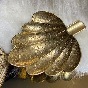 Vintage Brass Trinket Dish Ashtray Leaf Shell MCM